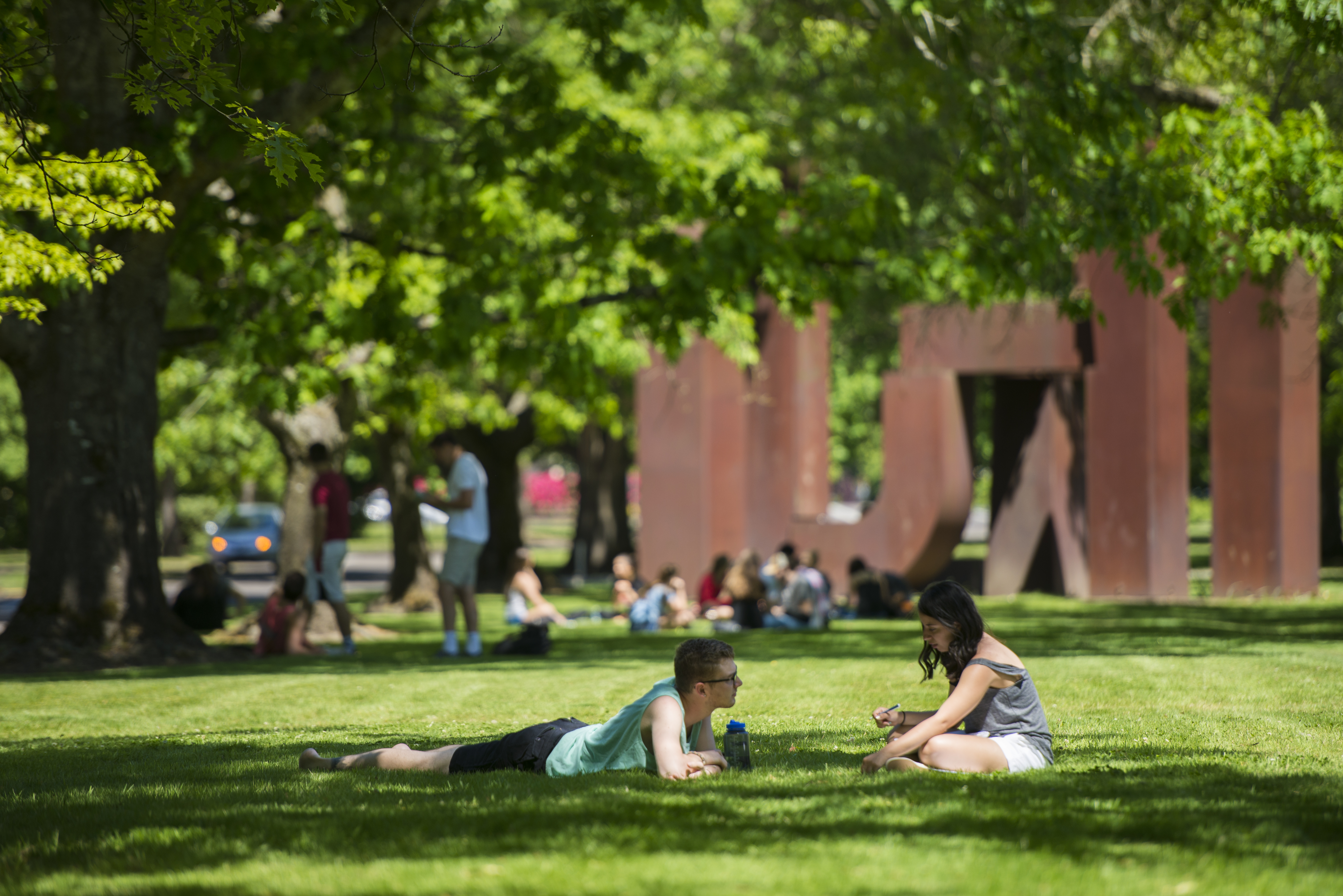 Students relax on the MU Quad.
