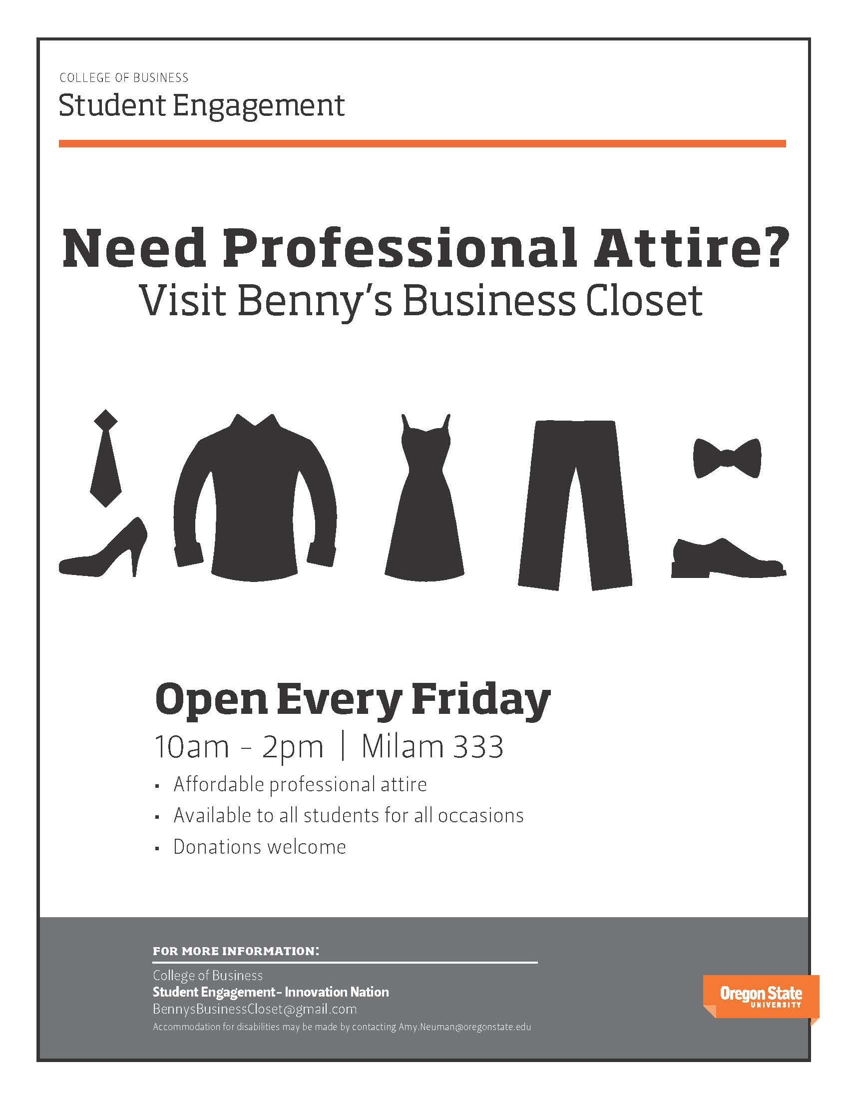 get affordable professional attire! Benny's business closet if open friday's from 10 A.M to 2 P.M