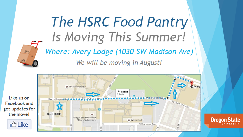 This image displays a map from Snell Hall to Avery Lodge, the new location for HSRC and the Food Pantry.