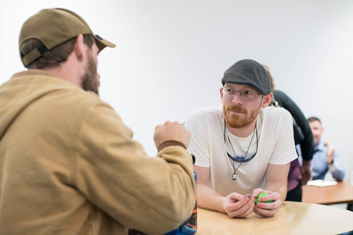 Students chat during a Veterans' Social in Austin Hall.