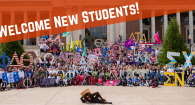 All Greek Photo 2019 with Welcome New Students banner