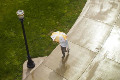 A student walks under an umbrella on a rainy day on campus.