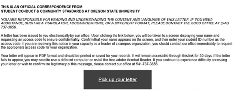 Example letter sent by Student Conduct