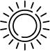 Graphic icon of a sun.